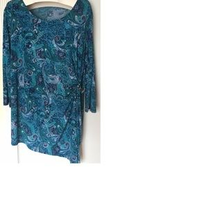 Plus Size 26W 28W Blue Paisley Ruched Sexy Top